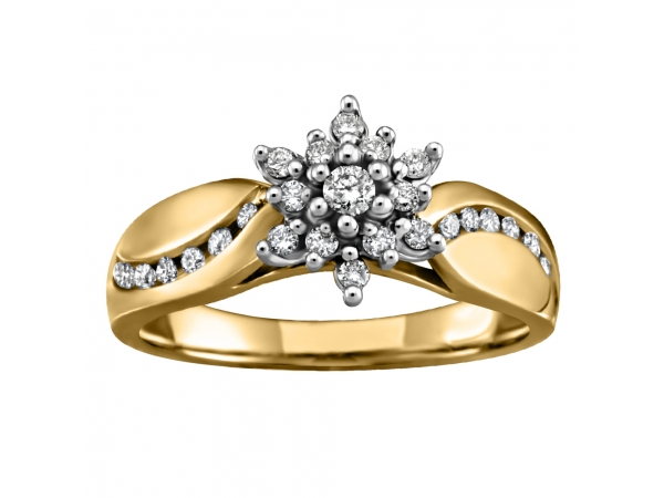 10K Yellow Gold Engagement Ring by Forever Ice