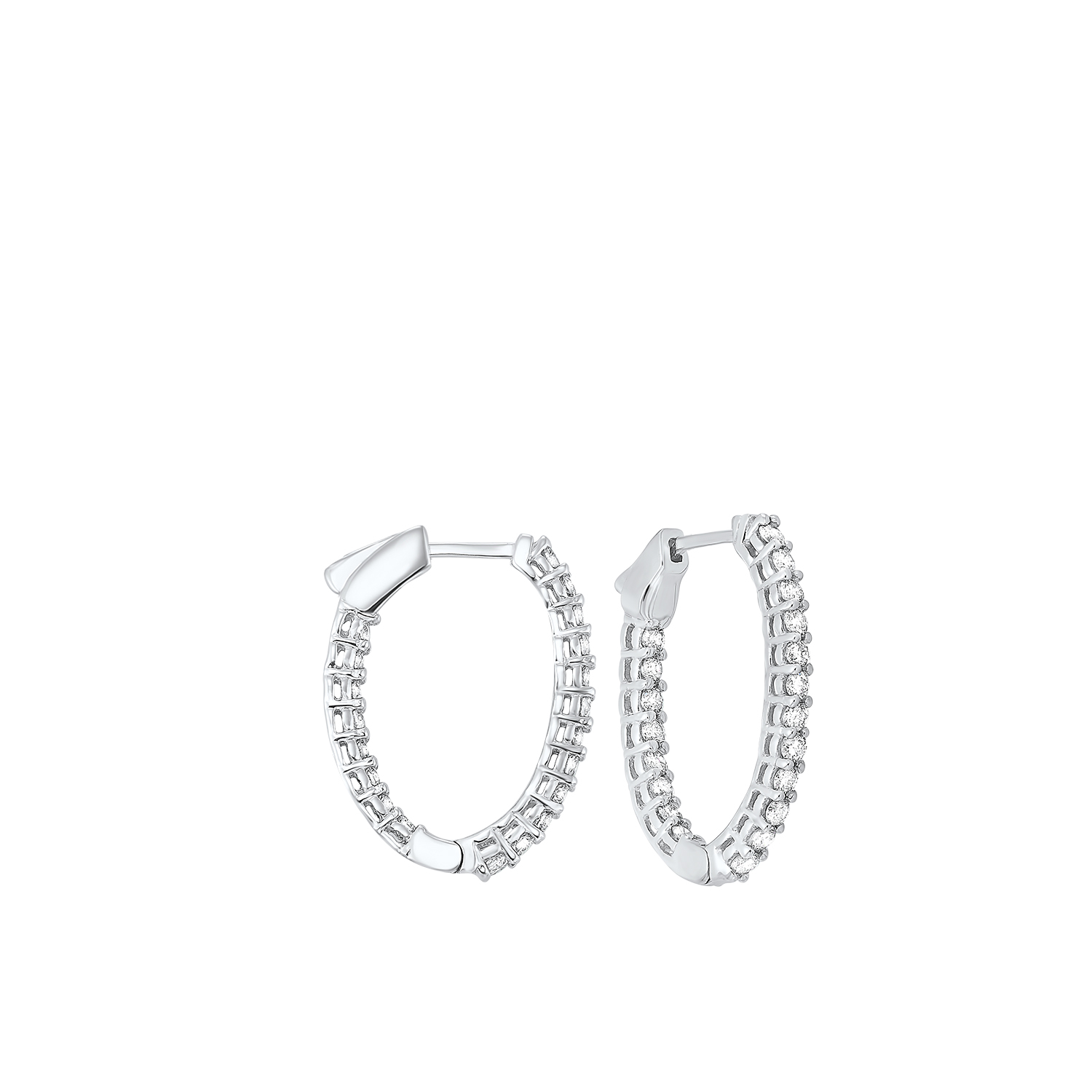 In-Out Diamond Hoop Earrings in 14K White Gold (1 ct. tw.) I2/I3 - H/K - Our beautiful  In-Out Diamond Hoop Earrings in 14K White Gold (1 ct. tw.)  is the perfect jewelry choice for you or your loved one. We have engagement rings, wedding bands, earrings, and so much more.