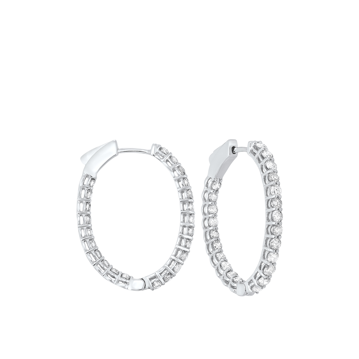 In-Out Diamond Hoop Earrings in 14K White Gold (2 ct. tw.) I2/I3 - H/K - Our beautiful  In-Out Diamond Hoop Earrings in 14K White Gold (2 ct. tw.)  is the perfect jewelry choice for you or your loved one. We have engagement rings, wedding bands, earrings, and so much more.