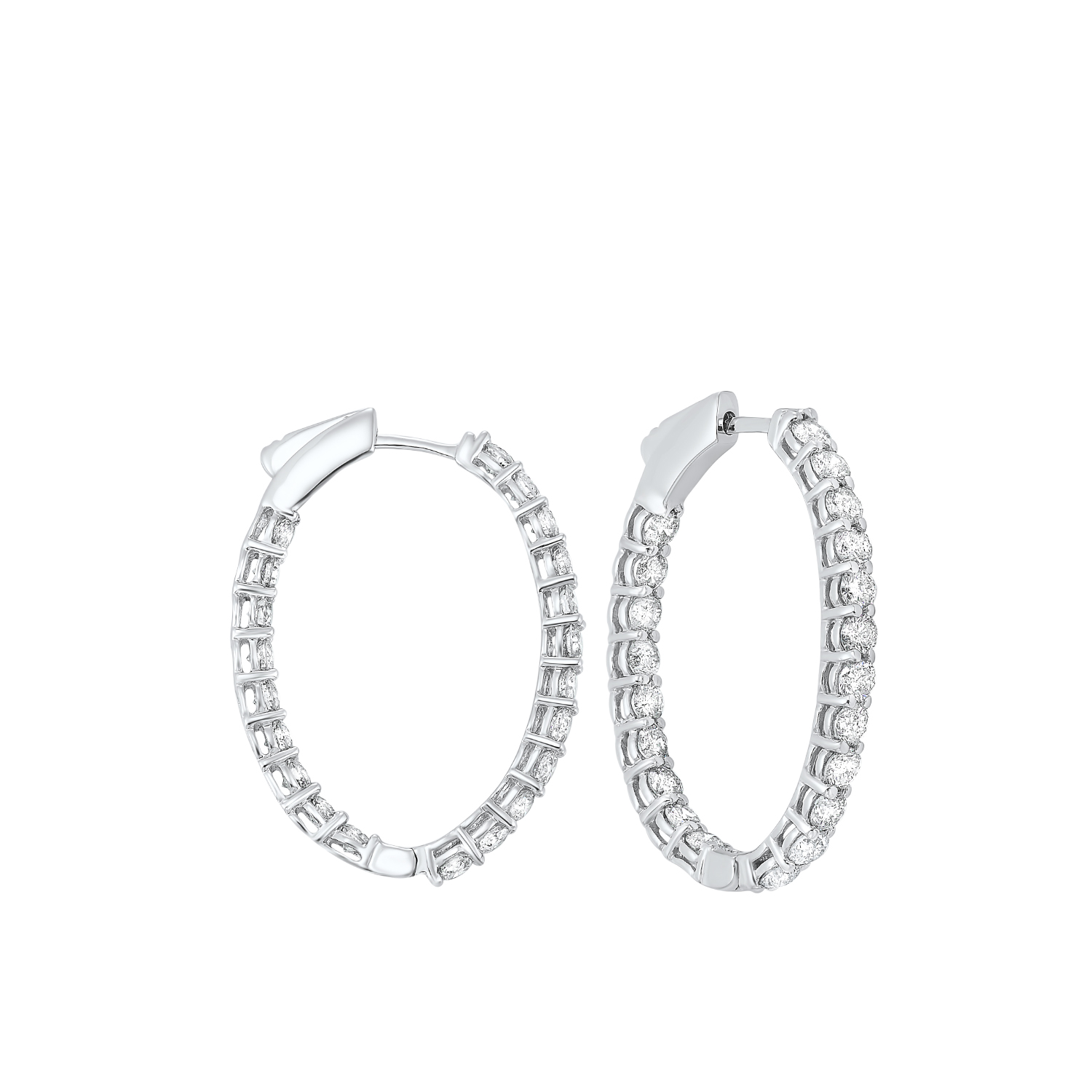 In-Out Diamond Hoop Earrings in 14K White Gold (3 ct. tw.) I2/I3 - H/K - Our beautiful  In-Out Diamond Hoop Earrings in 14K White Gold (3 ct. tw.)  is the perfect jewelry choice for you or your loved one. We have engagement rings, wedding bands, earrings, and so much more.