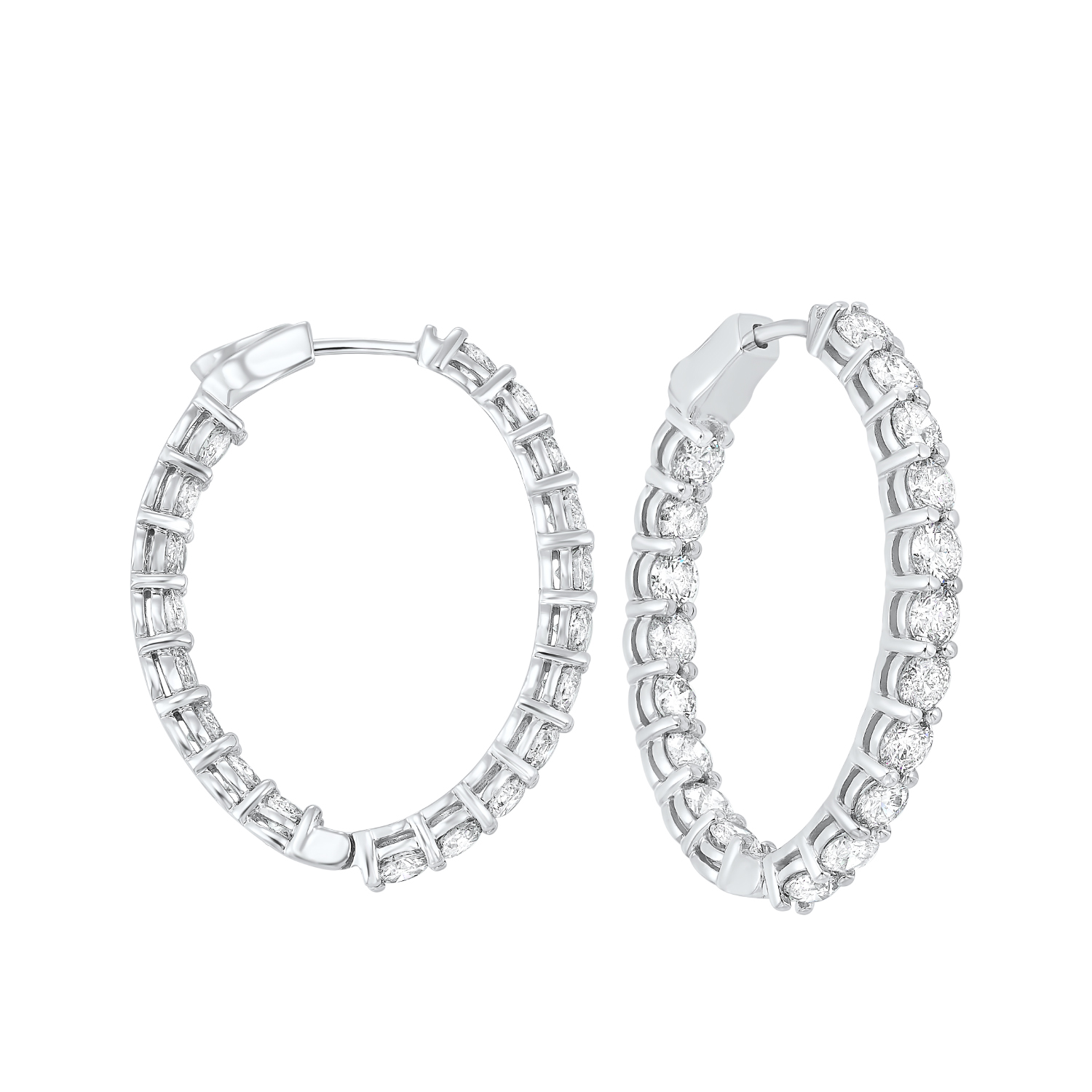In-Out Diamond Hoop Earrings in 14K White Gold (7 ct. tw.) I2/I3 - H/K - Our beautiful  In-Out Diamond Hoop Earrings in 14K White Gold (7 ct. tw.)  is the perfect jewelry choice for you or your loved one. We have engagement rings, wedding bands, earrings, and so much more.