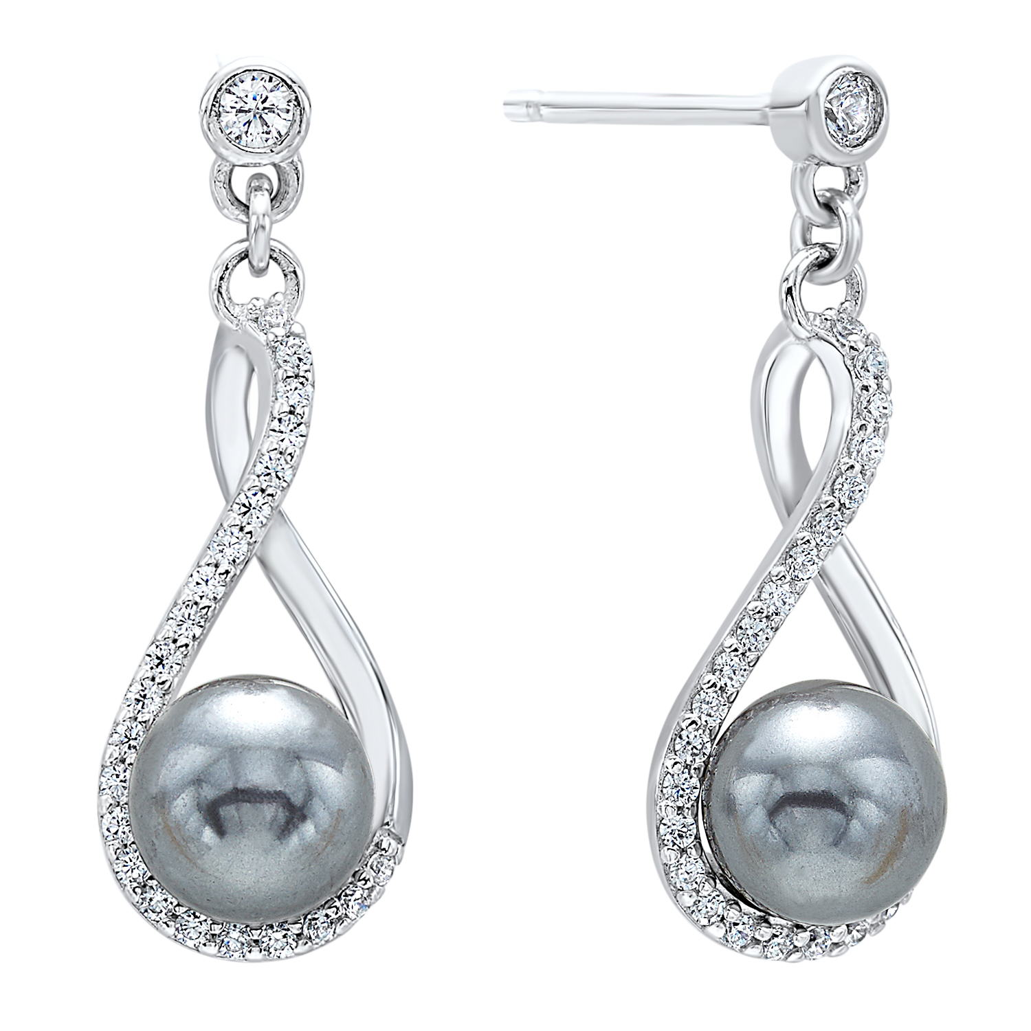 Shell Pearl Drop Earrings in Sterling Silver by Gems One