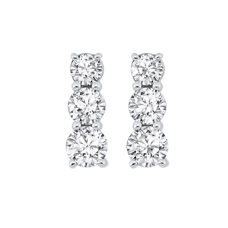 3 Stone Prong Set Diamond Earrings in 14K White Gold (1 ct. tw.) - Our beautiful  3 Stone Prong Set Diamond Earrings in 14K White Gold (1 ct. tw.)  is the perfect jewelry choice for you or your loved one. We have engagement rings, wedding bands, earrings, and so much more.