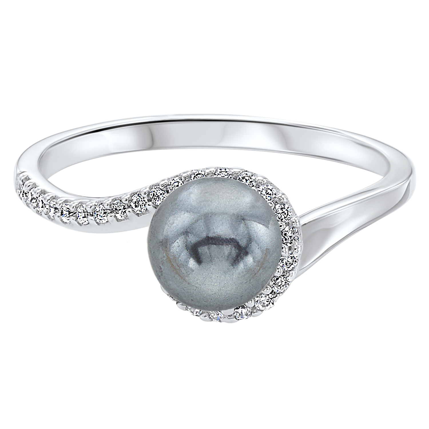 Twisting Shell Pearl Ring in Sterling Silver by Gems One