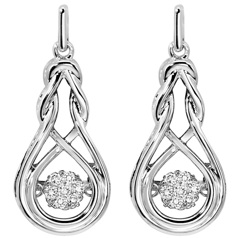 Sterling Silver Rhythm of Love Prong Diamond Earrings 1/7CT - Our beautiful  Sterling Silver Rhythm of Love Prong Diamond Earrings 1/7CT  is the perfect jewelry choice for you or your loved one. We have engagement rings, wedding bands, earrings, and so much more.