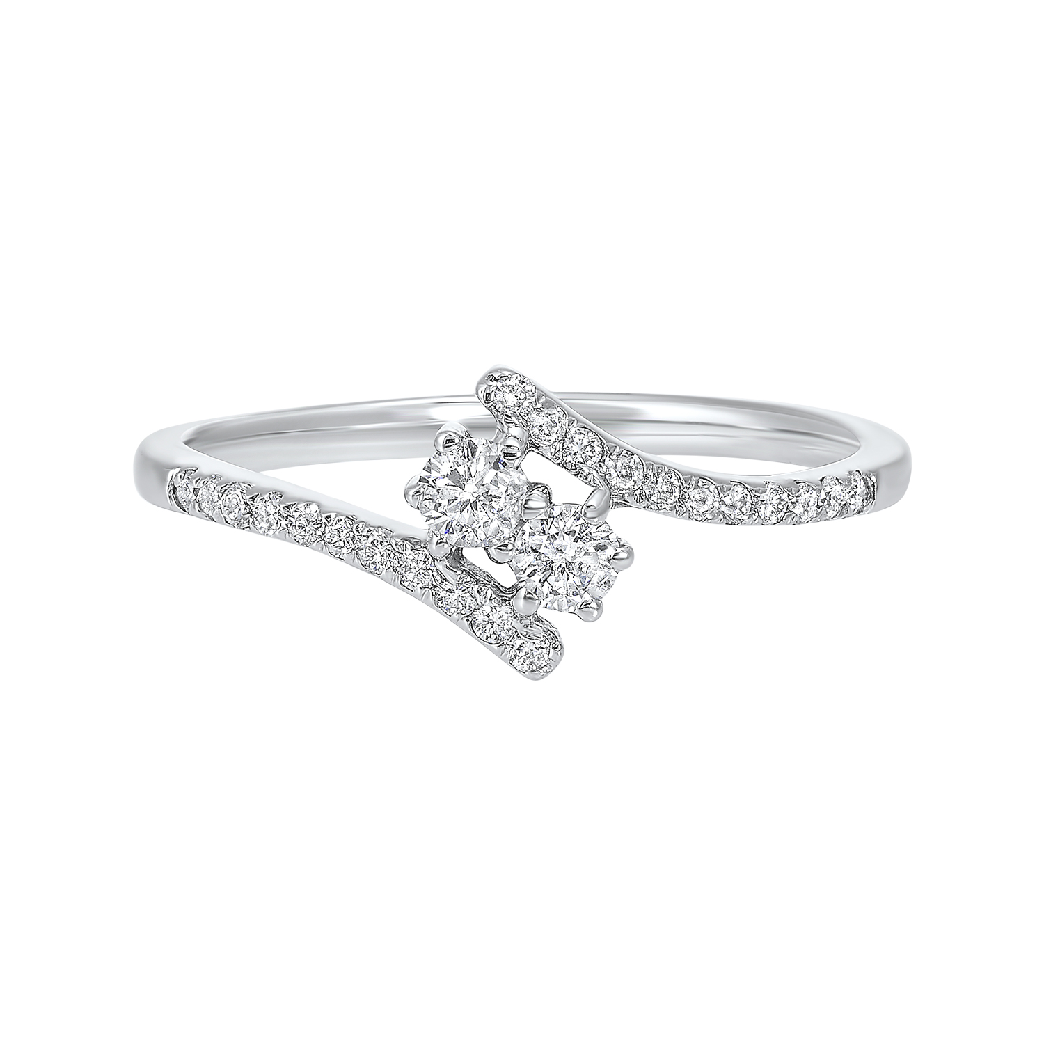 Twogether Two Stone Diamond Ring in 14K White Gold (1/4 ct. tw.) by Gems One