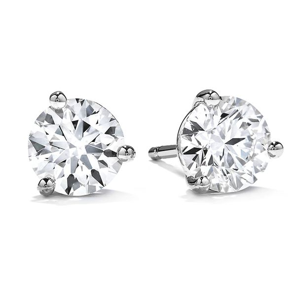 Women's Wedding Bands - 1 ctw. Three-Prong Stud Earrings in 18K White Gold
