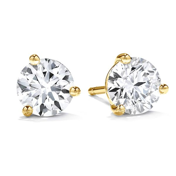 Women's Wedding Bands - 1.25 ctw. Three-Prong Stud Earrings in 18K Yellow Gold