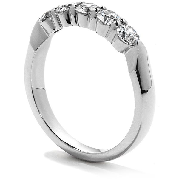 Anniversary Bands - 1.5 ctw. Five-Stone Wedding Band in 18K White Gold - image #2