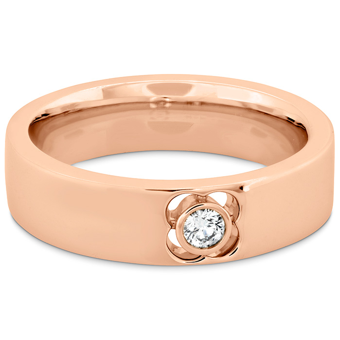 Women's Wedding Bands - 0.1 ctw. Copley Single Diam Band 6mm in 18K Rose Gold w/Platinum - image #3