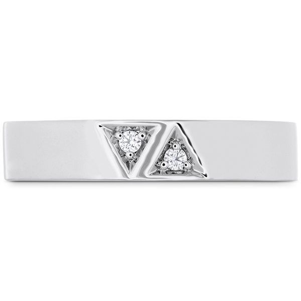 Anniversary Bands - 0.03 ctw. Triplicity Triangle Double Diam Band 4mm in Platinum