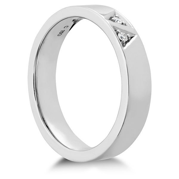 Anniversary Bands - 0.03 ctw. Triplicity Triangle Double Diam Band 4mm in Platinum - image #2