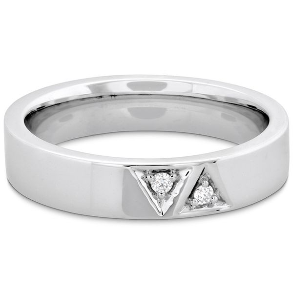 Anniversary Bands - 0.03 ctw. Triplicity Triangle Double Diam Band 4mm in Platinum - image #3