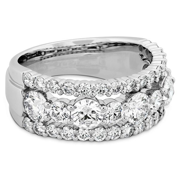 Women's Wedding Bands - 2.25 ctw. HOF Enticing Three Row Ring in Platinum - image #3