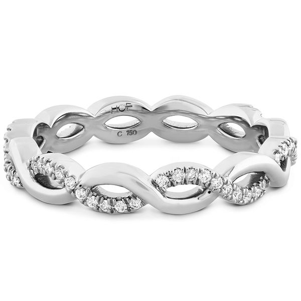 Women's Wedding Bands - 0.18 ctw. Destiny Lace Twist Eternity Band in 18K White Gold - image 3