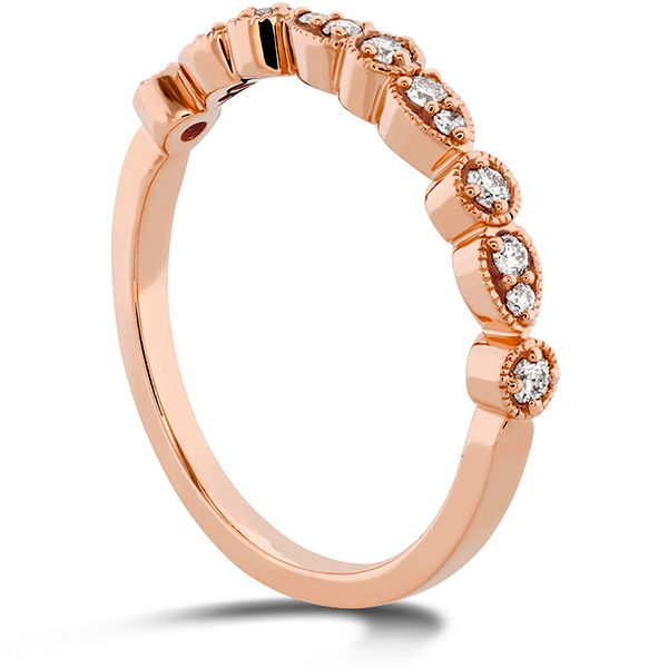 Women's Wedding Bands - 0.18 ctw. Isabelle Teardrop Milgrain Diamond Band in 18K Rose Gold - image #2