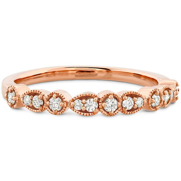 Women's Wedding Bands - 0.18 ctw. Isabelle Teardrop Milgrain Diamond Band in 18K Rose Gold - image #3