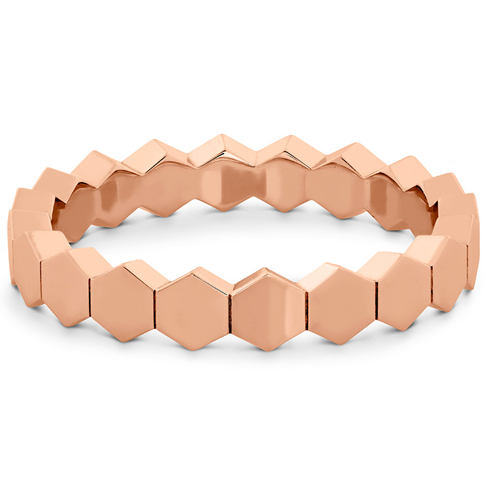 Women's Wedding Bands - HOF Hex Metal Eternity Band in 18K Rose Gold - image #3