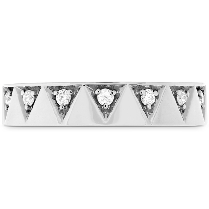 Anniversary Bands - 0.1 ctw. Triplicity Triangle Multi Diam Band 4mm in 18K White Gold