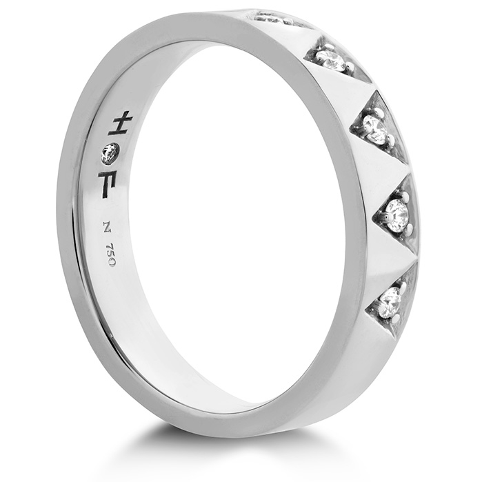 Anniversary Bands - 0.1 ctw. Triplicity Triangle Multi Diam Band 4mm in 18K White Gold - image #2