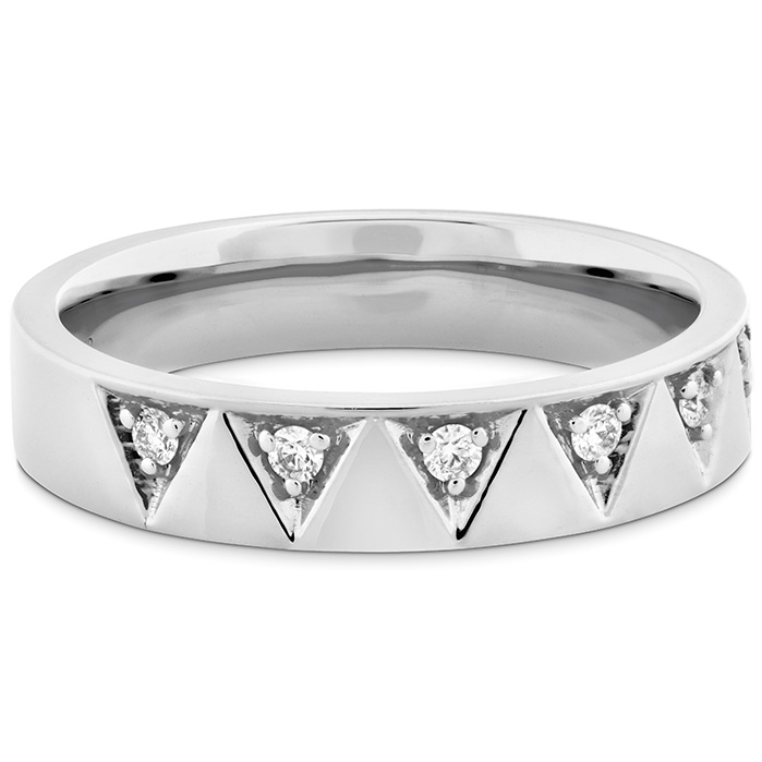 Anniversary Bands - 0.1 ctw. Triplicity Triangle Multi Diam Band 4mm in 18K White Gold - image #3
