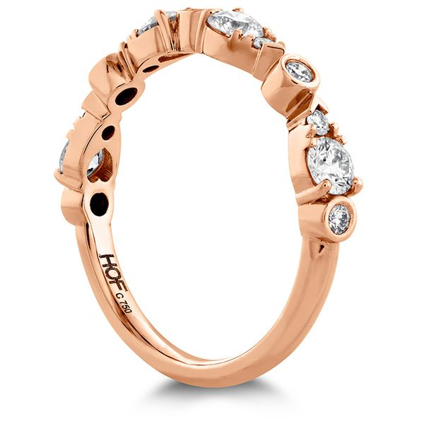 Women's Wedding Bands - 0.6 ctw. HOF Teardrop Bezel Diamond Band in 18K Rose Gold - image #2