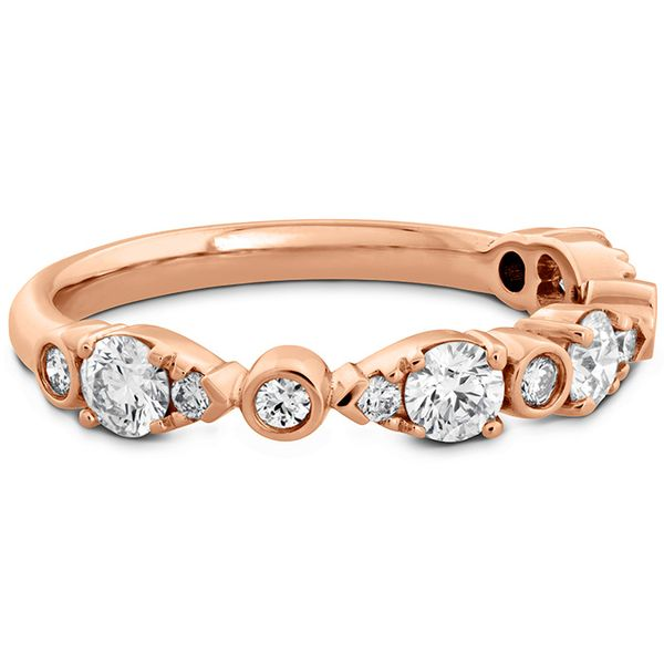 Women's Wedding Bands - 0.6 ctw. HOF Teardrop Bezel Diamond Band in 18K Rose Gold - image #3