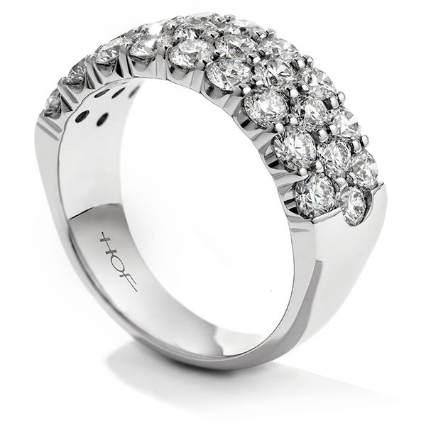 Women's Wedding Bands - 1.1 ctw. Truly Triple Row Right Hand Ring in 18K White Gold - image #2