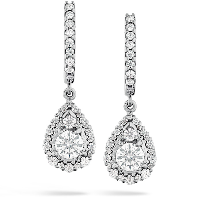 Women's Wedding Bands - 0.9 ctw. HOF Teardrop Halo Drop Earrings in 18K White Gold