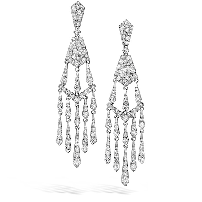 Women's Wedding Bands - 8.1 ctw. Triplicity Tassel Drop Earrings in 18K White Gold