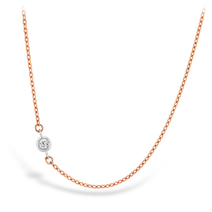 Women's Wedding Bands - HOF Signature Off-Set Single Bezel Necklace in 18K Rose Gold w/Platinum