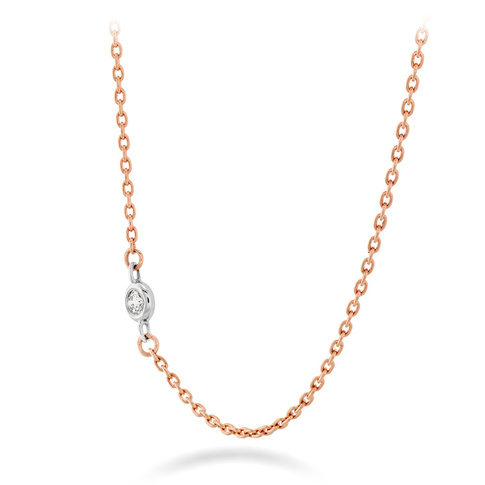 Women's Wedding Bands - HOF Signature Off-Set Single Bezel Necklace in 18K Rose Gold w/Platinum - image #2