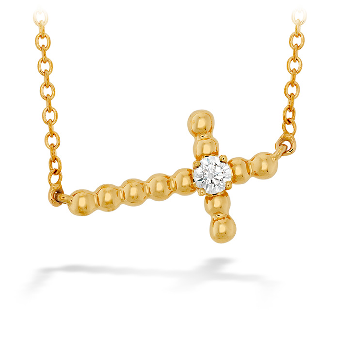 Women's Wedding Bands - 0.08 ctw. Charmed Horizontal Beaded Cross Necklace in 18K Yellow Gold
