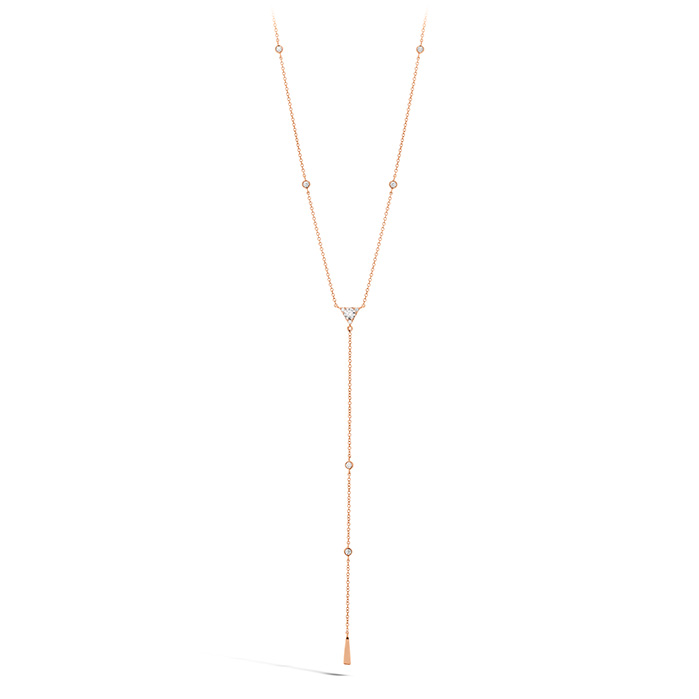 Women's Wedding Bands - 0.42 ctw. Triplicity Triangle Lariat Necklace in 18K Rose Gold