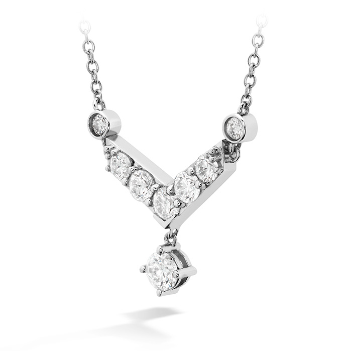 Women's Wedding Bands - 0.68 ctw. Triplicity Pointed Necklace in 18K White Gold - image #2