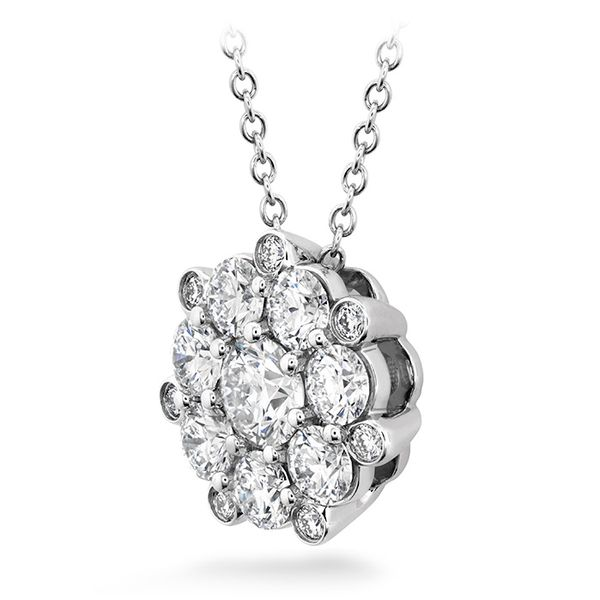 Women's Wedding Bands - 1.45 ctw. Beloved Cluster Diamond Pendant in 18K White Gold - image #2