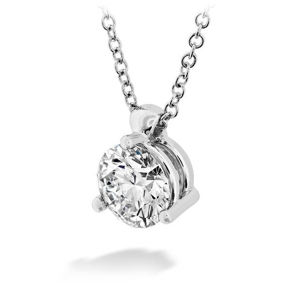 Women's Wedding Bands - 0.5 ctw. HOF Classic 3 Prong Solitaire Pendant in 18K White Gold - image #2