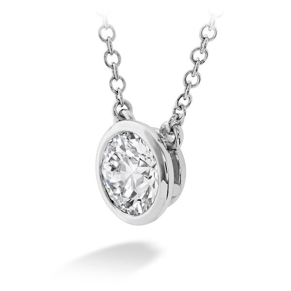 Women's Wedding Bands - 0.25 ctw. HOF Classic Bezel Solitaire Pendant in 18K White Gold - image #2