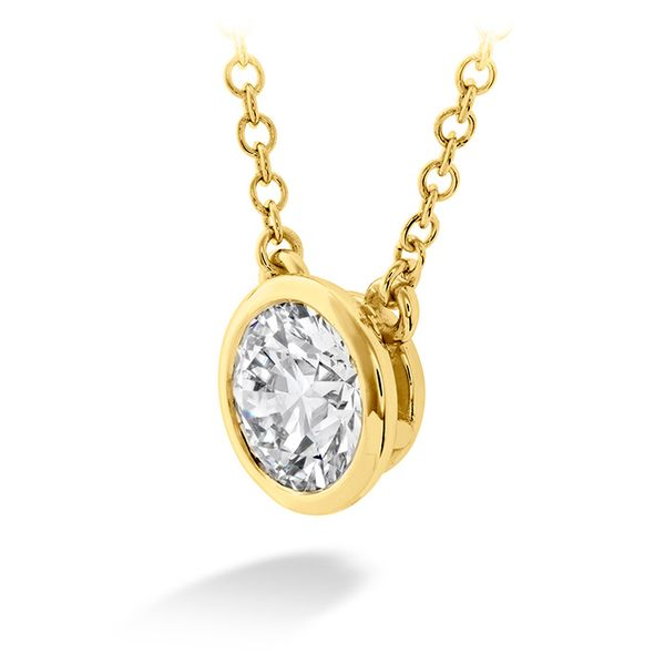 Women's Wedding Bands - 0.25 ctw. HOF Classic Bezel Solitaire Pendant in 18K Yellow Gold - image #2
