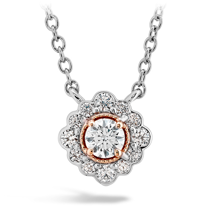 Women's Wedding Bands - 0.28 ctw. Liliana Flower Pendant in 18K Rose Gold w/Platinum