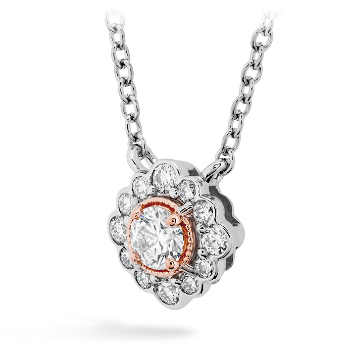 Women's Wedding Bands - 0.28 ctw. Liliana Flower Pendant in 18K Rose Gold w/Platinum - image #2
