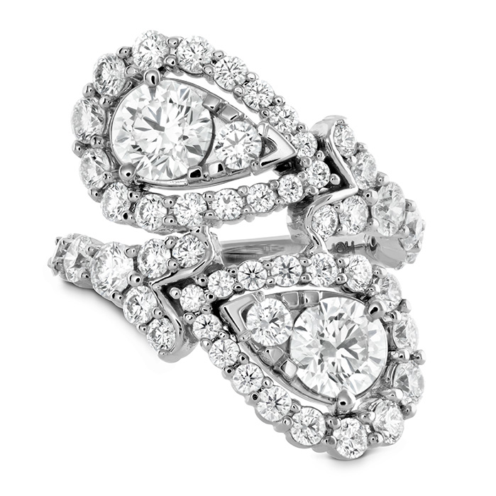 Women's Wedding Bands - 3.8 ctw. Aerial Victorian Bypass Diamond Ring in 18K White Gold