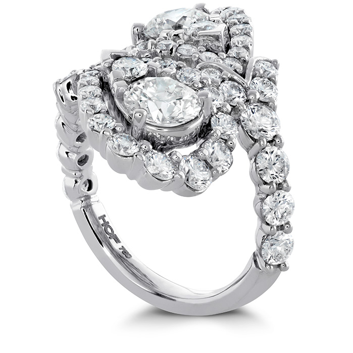 Women's Wedding Bands - 3.8 ctw. Aerial Victorian Bypass Diamond Ring in 18K White Gold - image #2