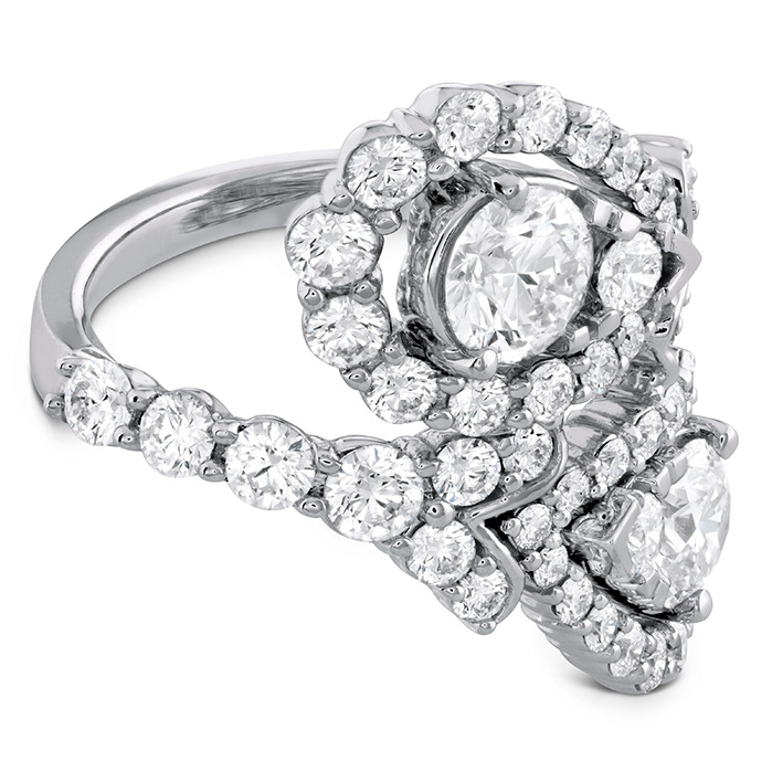 Women's Wedding Bands - 3.8 ctw. Aerial Victorian Bypass Diamond Ring in 18K White Gold - image #3