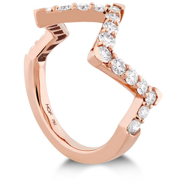 Women's Wedding Bands - 0.7 ctw. Triplicity Pointed Diamond Ring in 18K Rose Gold - image #2