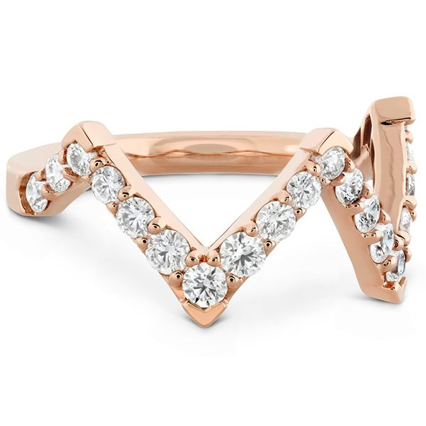 Women's Wedding Bands - 0.7 ctw. Triplicity Pointed Diamond Ring in 18K Rose Gold - image #3