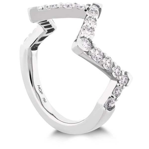 Women's Wedding Bands - 0.7 ctw. Triplicity Pointed Diamond Ring in 18K White Gold - image #2