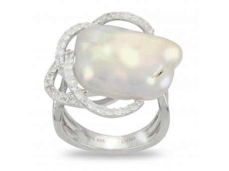 Sterling Silver Freshwater Pearl Ring - 925 16-16.5 MM WHITE BAROQUE FWCP & WHITE TOPAZ RING