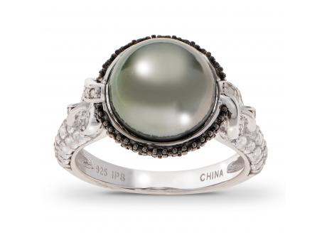 Sterling Silver Tahitian Pearl Ring - 925 10.5-11MM TAHITIAN BLK SPINEL & WHITE TOPAZ RING