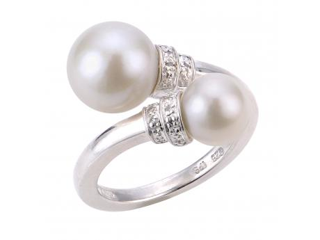 Sterling Silver Freshwater Pearl Ring - (925 8-11MM FWCP & DIAMOND BYPASS RING)